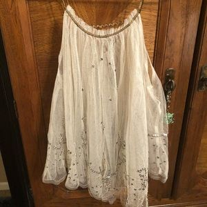 """Free People"" jeweled, mesh summer top."